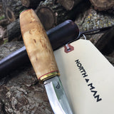 Pukko Knife 80mm with Curly Birch Handle