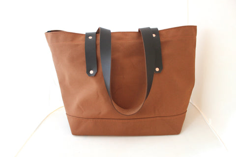 Cinnamon Brown Canvas Tote / Leather Handles