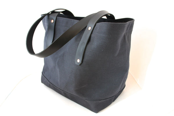 Black Canvas Tote / Leather Handles