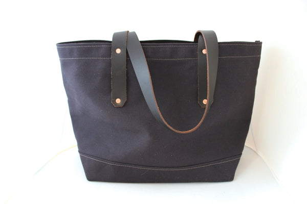 Walnut Brown Canvas Tote / Leather Handles
