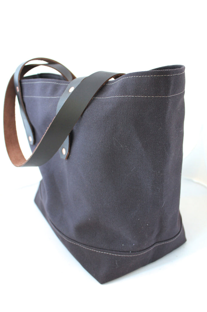 7c08e7c45 Walnut Brown Canvas Tote / Leather Handles – August Fischer Makers