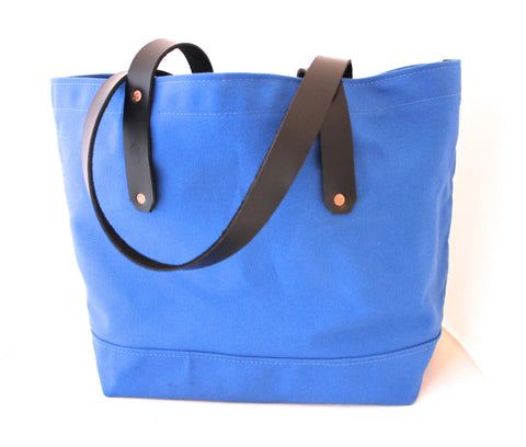 Blue Canvas Tote / Leather Handles