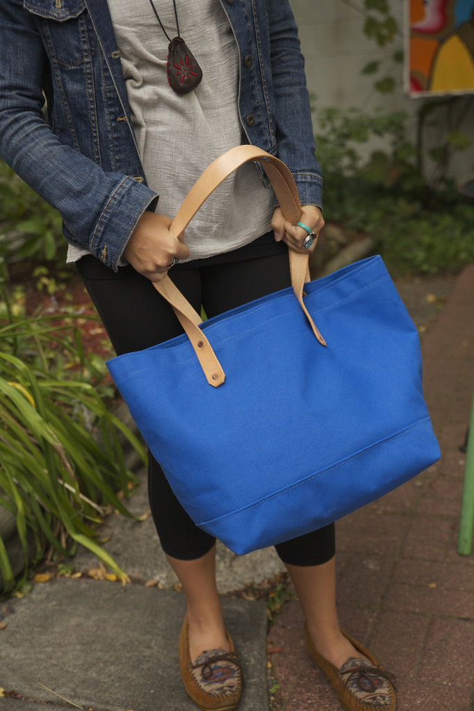 dbfb7c494 Blue Canvas Tote / Leather Handles – August Fischer Makers