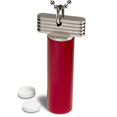 Red & Stainless Steel Pill Holder