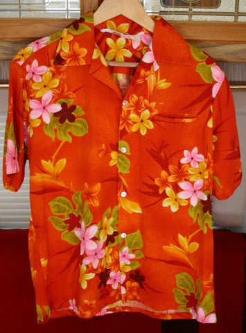 1950s to 60s Bark Cloth Aloha Hawaiian Shirt Tropicana Brand Great Vintage Condition Hidden Slit Pocket!