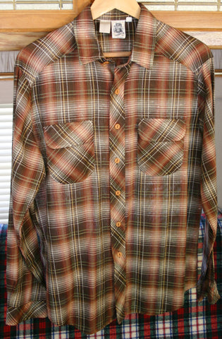 1960's to 70's Vintage Shadow Plaid Long Sleeve Men's Shirt Kennington LTD California Brand, Outrageously Cool Shirt Originators of Hipster Plaid!