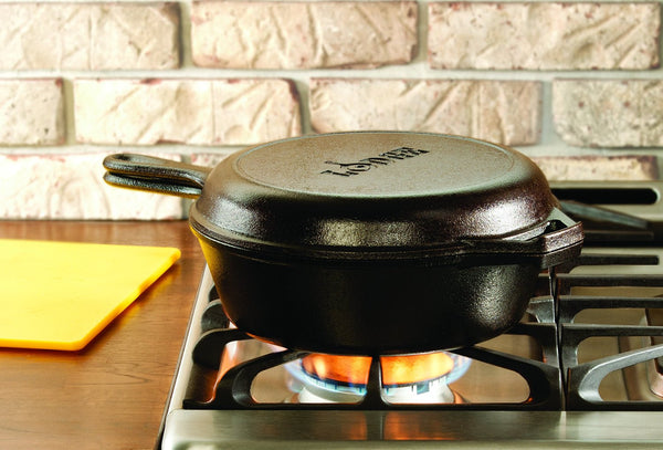 Lodge LCC3 Pre-Seasoned Cast-Iron Combo Cooker, 3-Quart Includes 3-Qt. Dutch oven and 10.25-inch shallow skillet that doubles as lid