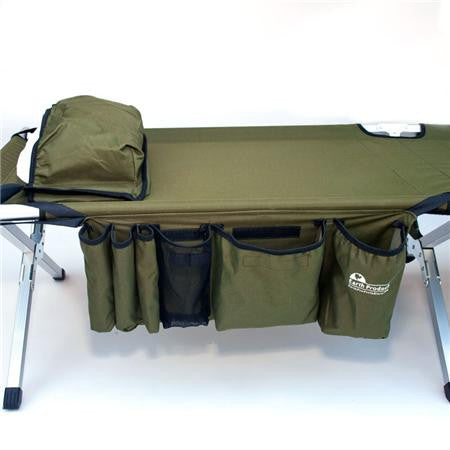 Earth Products Jamboree Military Style Folding Cot with Free Side Storage Bag System and Pillow (Green)