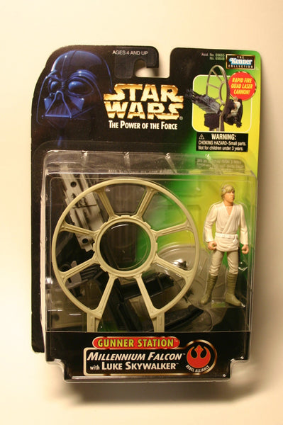 Star Wars Power of the Force Gunner Station Millennium Falcon w Luke Skywalker Mint In Package 1997