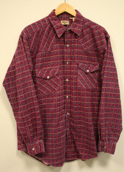 "Nice Comfy Warm Size Large Long Flannel, Boyfriend Oversized Sleeper Shirt, ""Northwest Blue"" Brand. Fantastic Condition, Plaid Pearl Snap!"