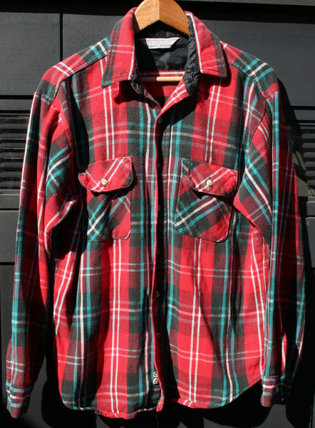 Size Large Field & Stream Flannel Quilt Lined In Neck Area Boyfriend Shirt Hiking Camping Fishing Pacific Northwest Grunge Skater Surfer Hipster!