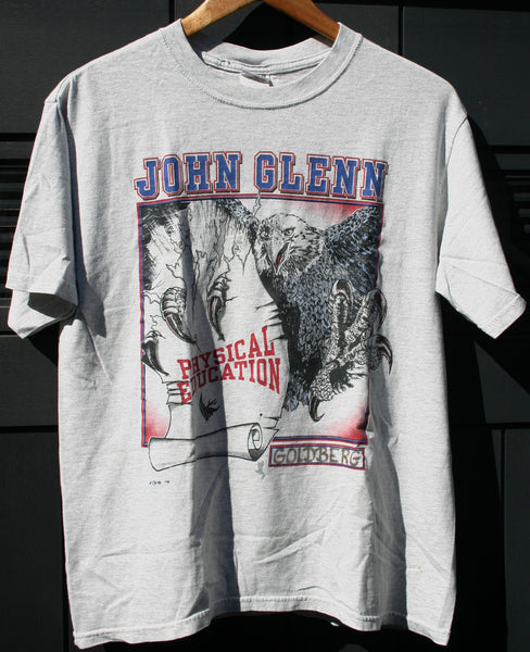Size Small to Medium John Glenn Physical Education Tee Nice & Worn Pin Hole Named Comfy Boyfriend Tee Slightly Distressed.
