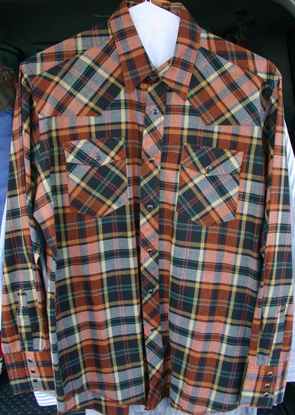Vintage Rustler Pearl Snap Shirt Size 16 34/35 Great Colors Excellent Condition!