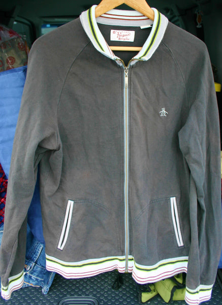 Size Large Penguin Munsing Wear Brand Track Suit Top Zip Front Preppy Hipster Cool, Great Condition!