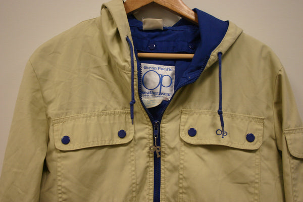 Size Large OP Ocean Pacific 1980s Cool Retro Zip Front Jacket, 4 Pocket. Hood Weather Wear Snap Out Medium Weight Quilted Liner.