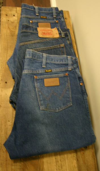 Old School Wrangler Jeans Made In USA Size 36/34 Very Slight Fade Fantastic Cowboy Cool Great Condition Ready To Go!