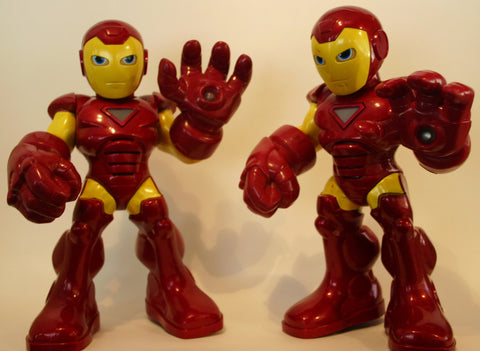 11 Inch Tall Automated Talking, Hand Lights Up, Iron Man from the Animated Series Dated 2010.