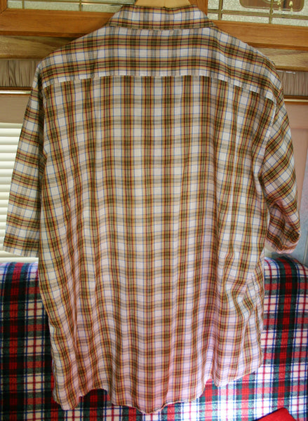 Fantastic 1970's Short Sleeve Plaid Shirt Size 2X Tall, 28 Inches Pit to Pit, Poly Cotton Mix Great Condition, Sears Sports Wear.