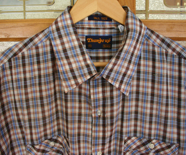Fantastic 1970's Short Sleeve Plaid Shirt Size 2X Tall, 27 Inches Pit to Pit, Poly Cotton Mix Great Condition, Sears Sports Wear.
