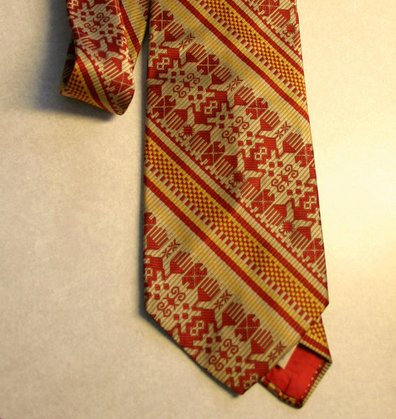 1970's 100% Textured Polyester Fat Necktie Disco Hipster Cool, Red Gold Tan Geometric Design Over 4 Inches Wide!