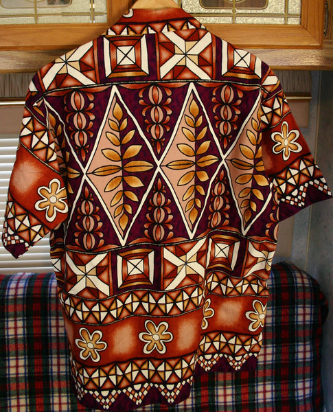 Fantastic 1960's Bark Cloth Size 21 Inches Pit to Pit Tribal Tiki Tapa Design Aloha Shirt Made In Hawaii Great Condition!