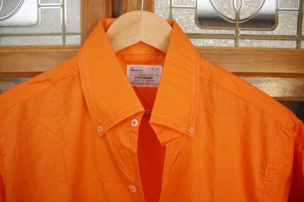 Late 70's to Early 80's Dead Stock Straight Out of the Bag Neon Sherbet Orange Short Sleeve Button Down Men's Shirt! Tag Size 16 L 16.5