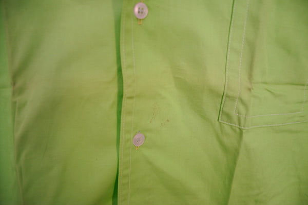 Late 70's to Early 80's Dead Stock Straight Out of the Bag Neon Green Short Sleeve Button Down Men's Shirt! Tag Size 16 L 16.5