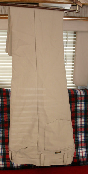 1970's 100% Polyester Leisure Western Pants Wrangler Brand Size 36/30 Tan Color Slightly Flared Cuffs. Great Condition!