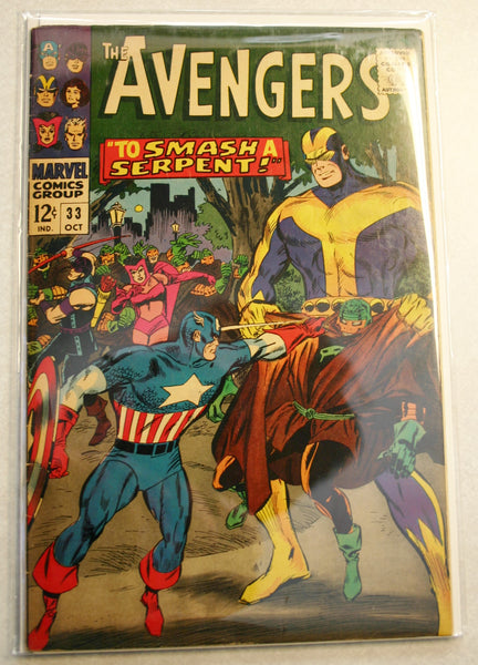 Marvel's The Avengers #33 Dated October 1966, Fantastic Cover Art, Great Colors, Graded About 6.0 Rare Comic.