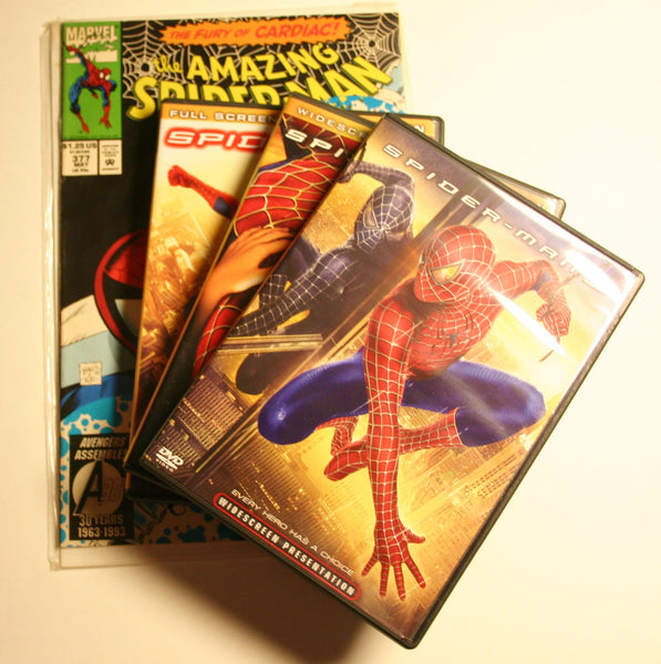 Marvels Spiderman DVD/Comic Pack. Comic # 377 May 1993 & DVDs Spiderman 1, 2 & 3. Ready To Go Now!
