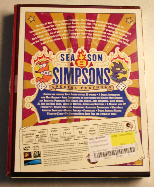 "The Simpsons Season 9 Complete DVD 25 Eposode Collection ""The 200th Eposode"""