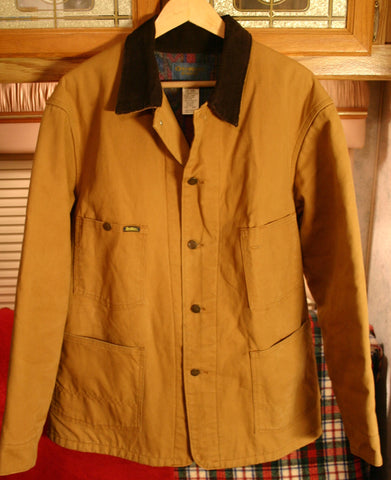 Men's Vintage Oshkosh Heavy Canvas Blanket Lined Tan Jacket Size 44R Fits Like A Modern XL Fantastic Condition Metal Clover Buttons Made In USA!
