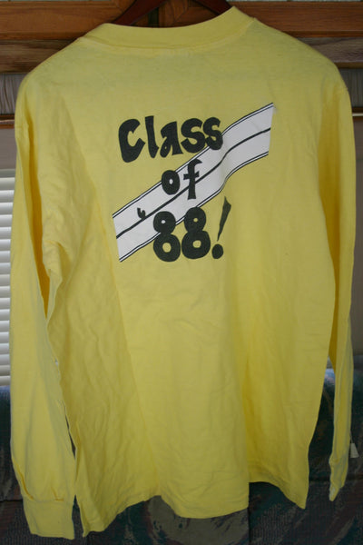 Long Sleeve Vintage Tee Dated 1988, Class of 88 Two Sided Hanes Beefy-T Label Made In USA 100% Cotton Vintage Large 42-44.