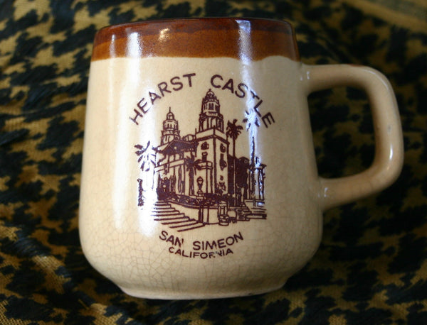 Cool 1950s to 60s Hearst Castle San Simeon California Travel Road Trip Coffee Mug, Great Crackle Glaze, Brown Drip Pottery. Cool Tramping Find!