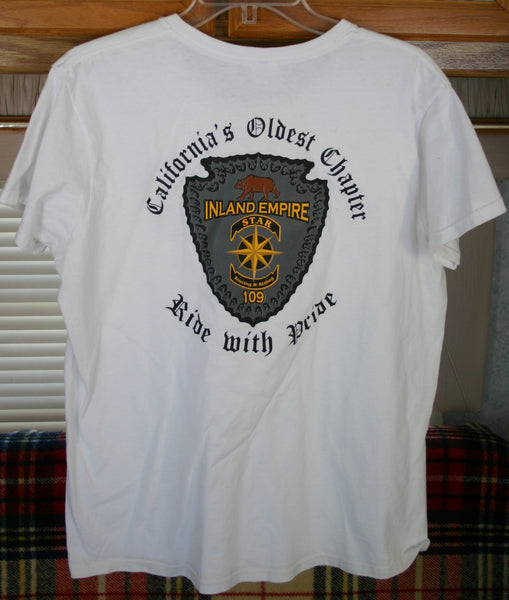 Rare Vintage Tee Size Large Inland Empire Star Touring And Riding 109 California's Oldest Chapter Motorcycle Club. Great Graphics Two Sided Tee.