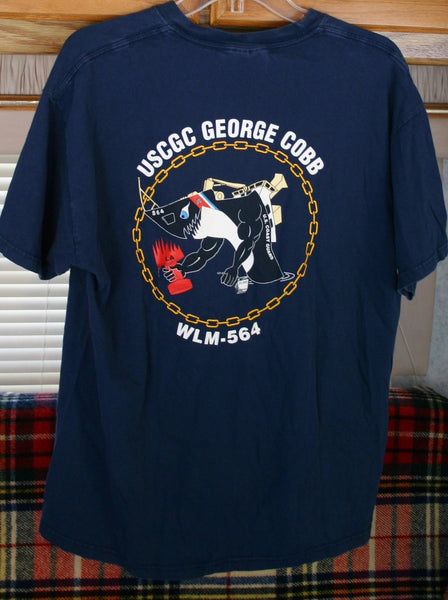 Fantastic USCGC George Cobb WLM-564 San Pedro, California Coast Guard Tee, Two Sided Graphics, Great Images!