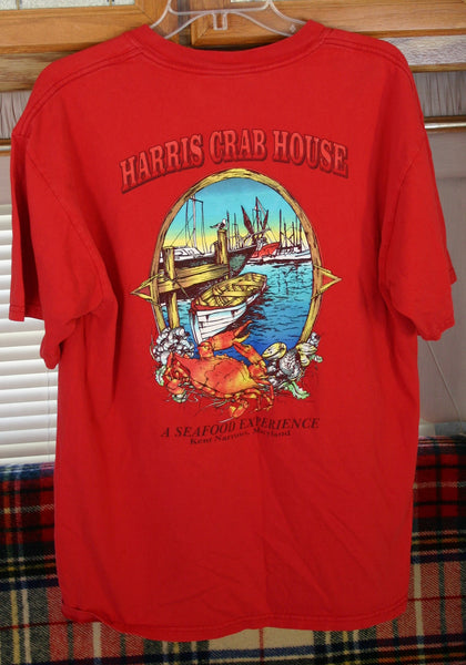 Very Cool Pocket Tee Great Graphics Size Large 100 Per. Pre Shrunk Cotton, Harris Crab House, Kent Narrows Maryland. Road Trip Location Tee.