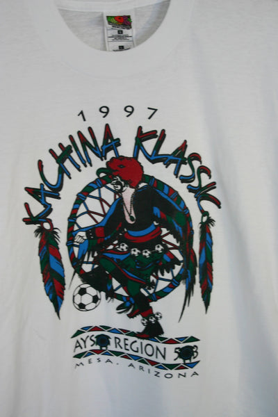 Dead Stock Size Large Fruit Of The Loom 100 Per. Pre  Shrunk Cotton Thin Cool Dated 1997 Kachina Klassic Mesa Arizona.