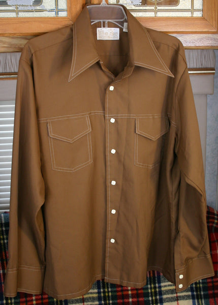 Fantastic 1970s Milk Chocolate Brown Size XL Kings Road Polyester Shirt Great Near Perfect Condition, Huge Collars! Swanky Disco Club Cool!