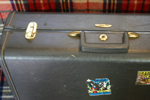 Authentic 1950's Luggage With Travel Decals, Tweed Cloth Lined Over Great Vintage Condition, Perfect For Lofty Décor or Vintage Feel.