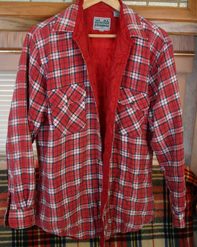 Late 70s to Early 80s Size Medium to Large Fully Lined Quilted Plaid Flannel Shirt 23 Inches Pi to Pit Great Vintage Brand. Outdoor Exchange. Nice Condition.