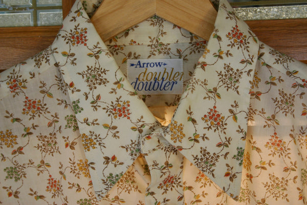 Immaculate 70's Hippy Print Men's Long Sleeve Shirt Great Vintage Label Arrow Doubler-Doubler, Poly Cotton Blend. Size XL!