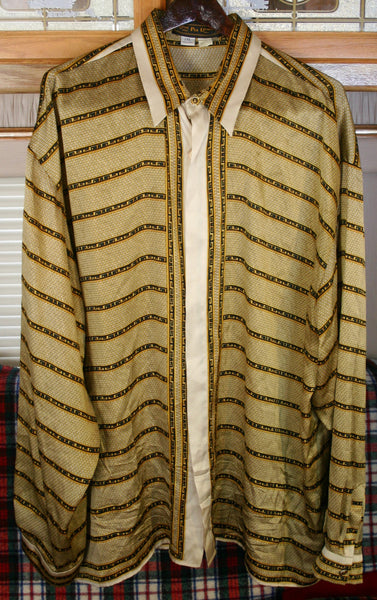Vintage 1960's 100 Percent Silk Italian Made Size 2X Men's Lounge Lizard Long Sleeve Seta Per Uomo Brand Shirt Hollywood Producer's Clothing.