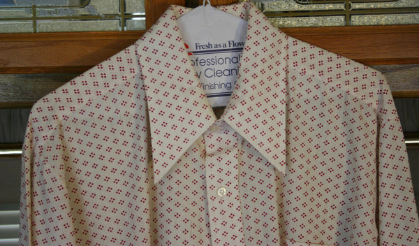Perfect 1970's Men's Dress Shirt Jandy Place Collection By Brandon Inc. 4 Dot Design Huge Wing Collars Cotton Poly Blend.