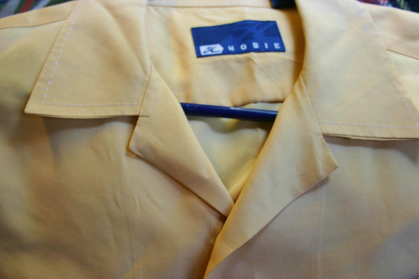 1980's Hobie Surf Shirt Size Medium Polished Cotton Poly Blend Canary Yellow Cream Decorative Stitching, Nice and Cool.