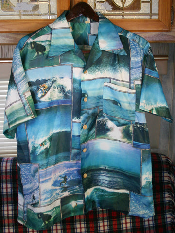 Late 60s to Early 70s Polyester Shirt Surfing Themed Size L to Slim Fit XL Made In California Rare Highly Collectable.