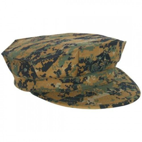 New Marine Corps USMC Issue Military Woodland Digital Camouflage Garrison Hat Cap Cover With Emblem, Size Small.