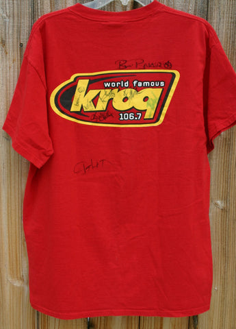 Size Large 100% Pre Shrunk Cotton KROQ SoCal Radio Station Tee Famous Punk Rock New Wave With All DJs Autographs In Near Perfect Condition!