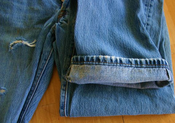 Vintage Authentically Destroyed Levis 501 Jeans 80s W33 L34 Former Finishing Carpenters Pair # 1
