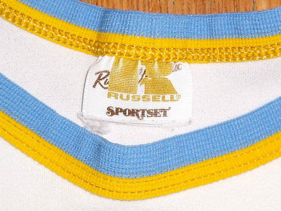 Rare Vin 60s UCLA Bruins Basketball NCAA Jersey Russell Sportset Sand Knit, Very Rare Find and Perfect For the Sports Collector or Man Cave